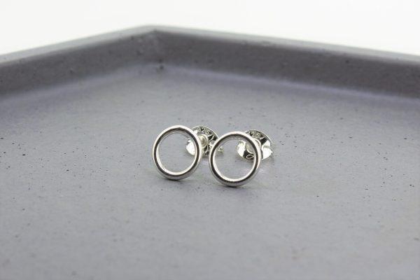Silver Halo Open Circle Stud Earrings