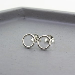 Silver Halo Open Circle Stud Earrings