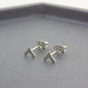 Chevron Silver Stud Earrings