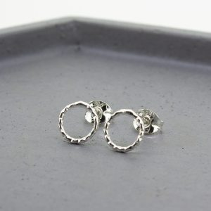 Diamond Cut Silver Open Circle Stud Earrings