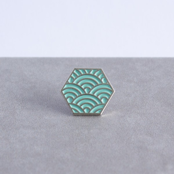 Seigaiha pattern hexagonal soft enamel pin - silver and mint