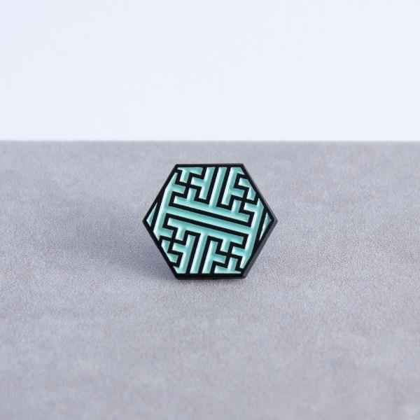 Sayagata pattern hexagonal soft enamel pin - black and mint