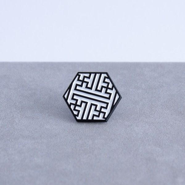 Sayagata pattern hexagonal soft enamel pin - black and white
