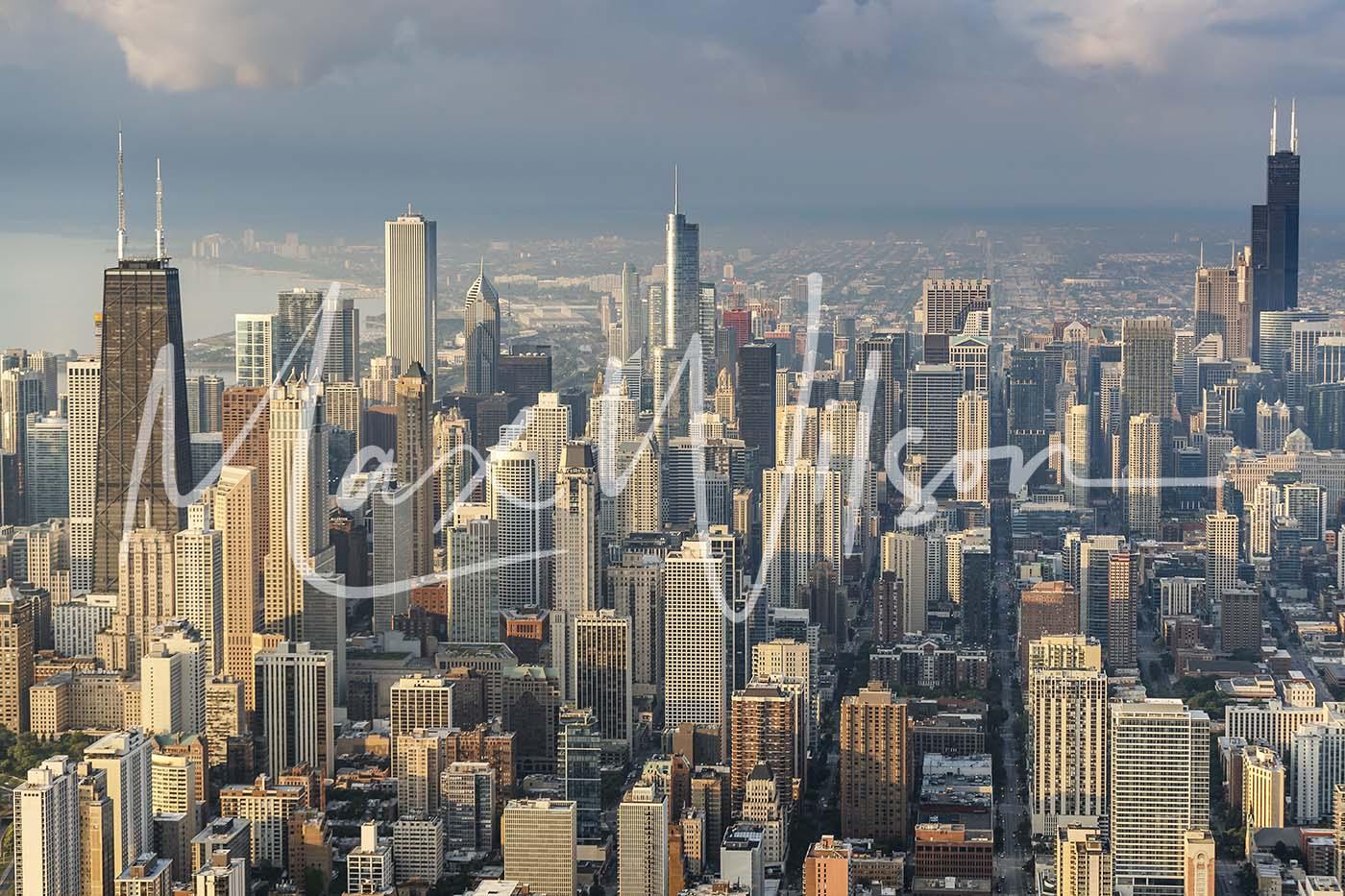 chicago skyline misty blue