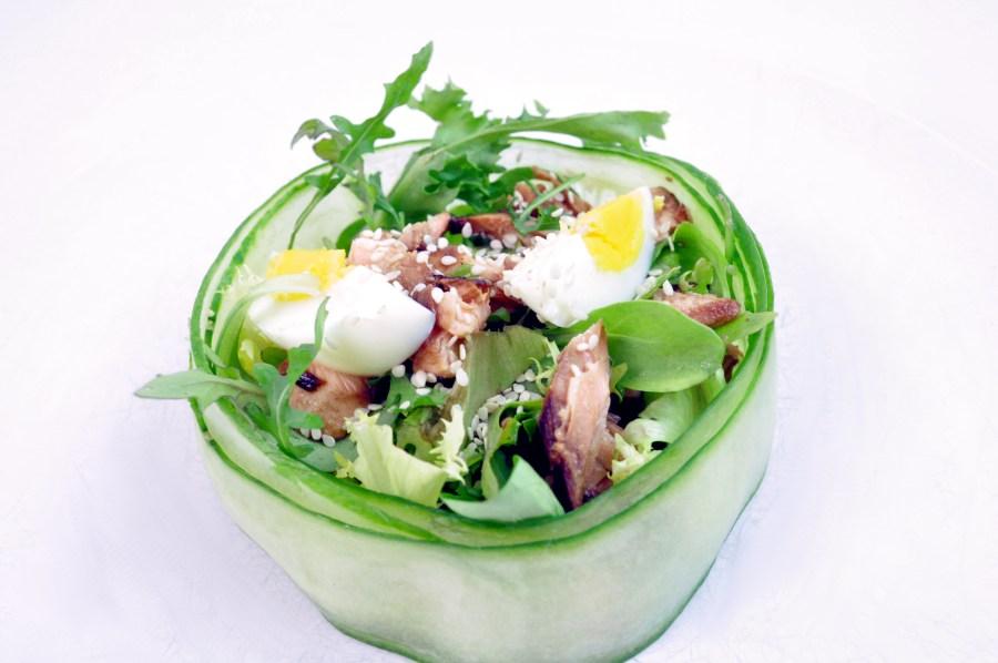 Salad in a cucumber bowl