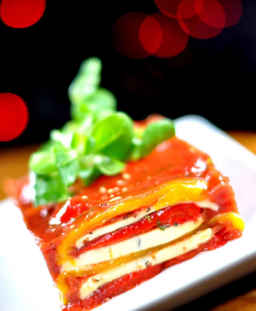 Roasted peppers and morbier terrine