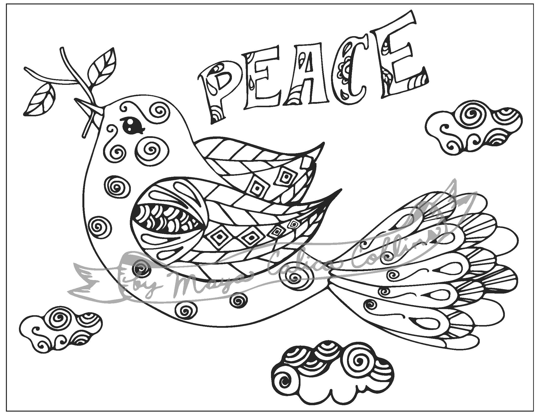 """Peace Dove"" Adult Colouring Page, Bible Colouring Page"