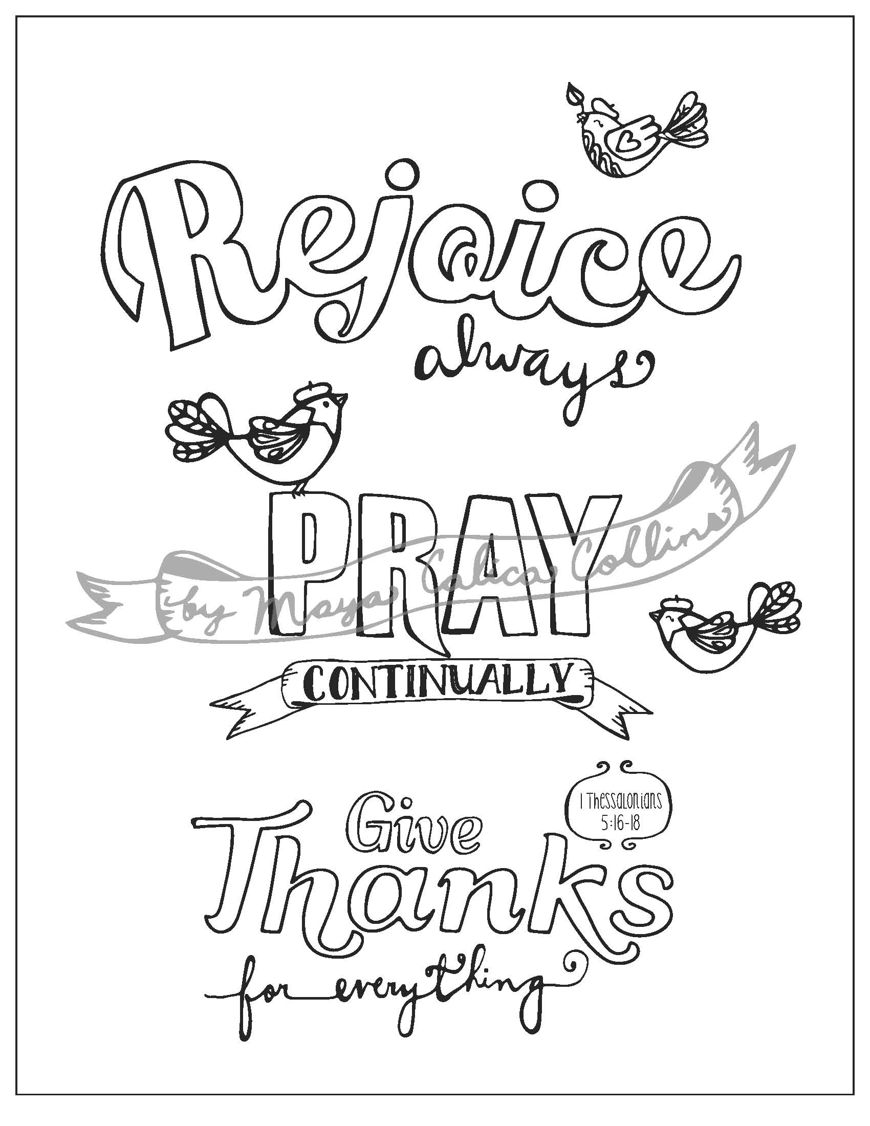 Pray Continually Coloring Page Coloring Pages