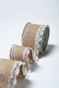 1.5 Inch Wired Burlap w/ Lace Edge - May Arts Wholesale Ribbon