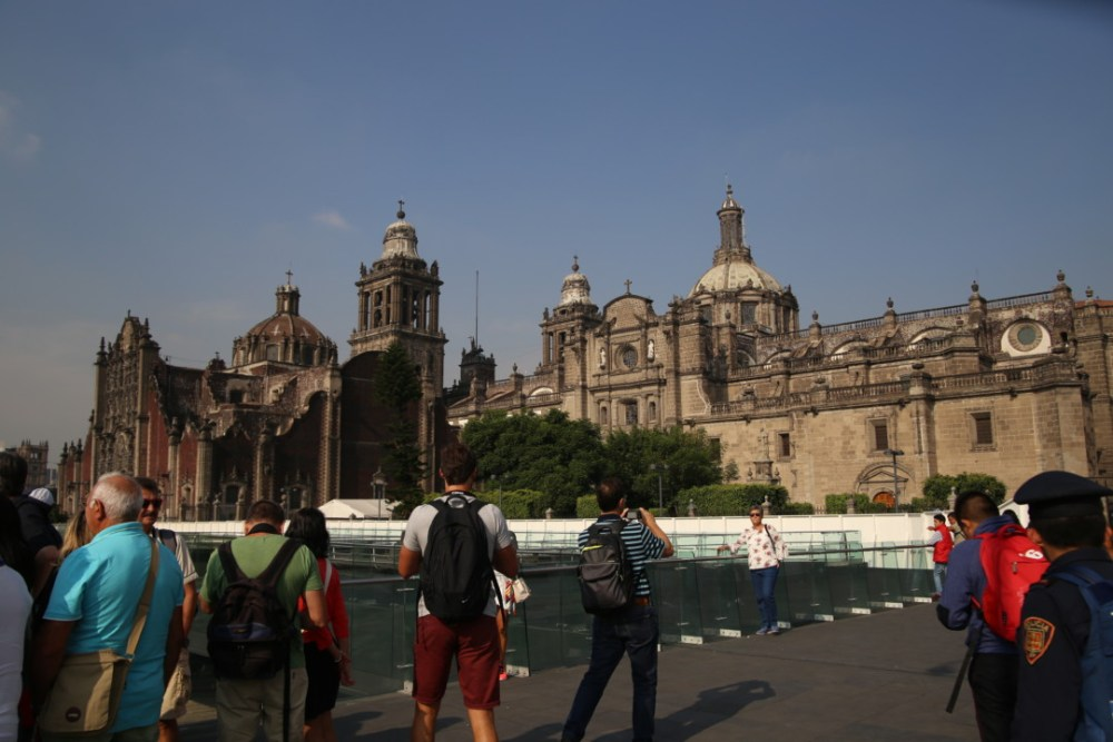 Vue sur la cathédrale Metropolitana depuis le Templo Mayor, Mexico © M.C.