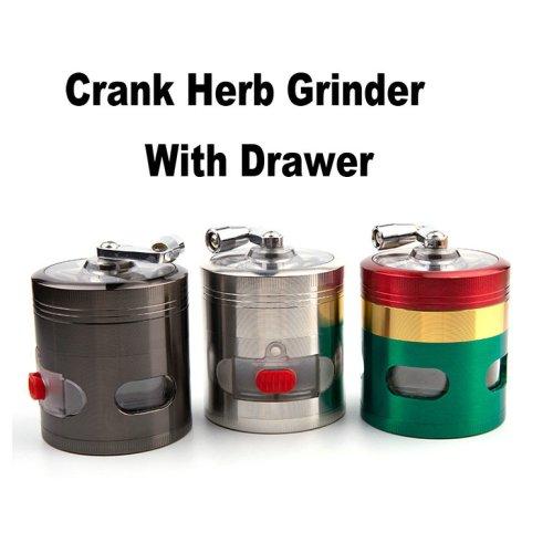 Crank Herb Grinder With Drawer
