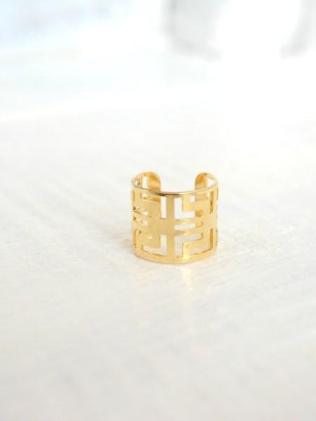"""Bague  ASSIA """"BOHEMIENNE CHIC"""" - Large anneau ajustable ajouré, plaqué or 18 carats"""