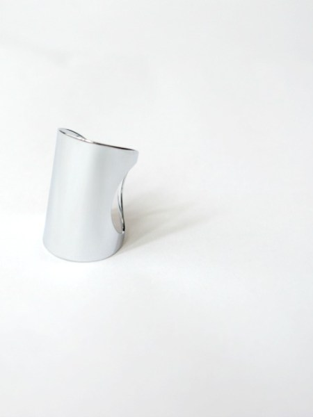 "Bague  WHITE LIGHT ""MAY MINIMALISTE"" - Large anneau ajustable, doré à l'or fin blanc"