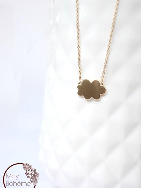 COLLIER NUAGE MAY MINIMALISTE - Nuage doré à l'or fin 24 carats