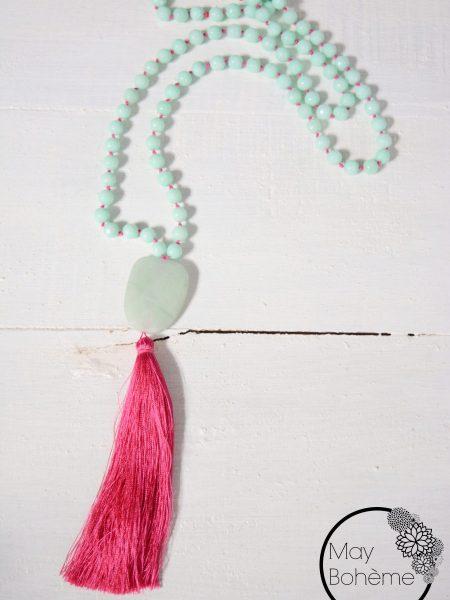 SAUTOIR JADE MAY PINK - Perles de jade vert d'eau , pendentif en aventurine