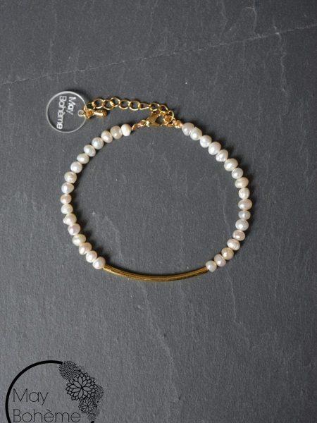 """BRACELET SERENITY LIGHT """"GYSPET SPIRIT""""- Bracelet perles d'eau douce, plaqué or"""