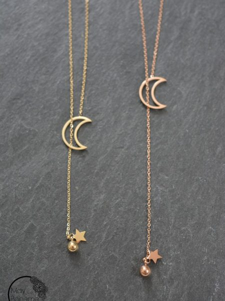 "COLLIER CRAVATE LIGHT NIGHT ""GYPSET SPIRIT"" - Chaîne cravate croissant de lune"