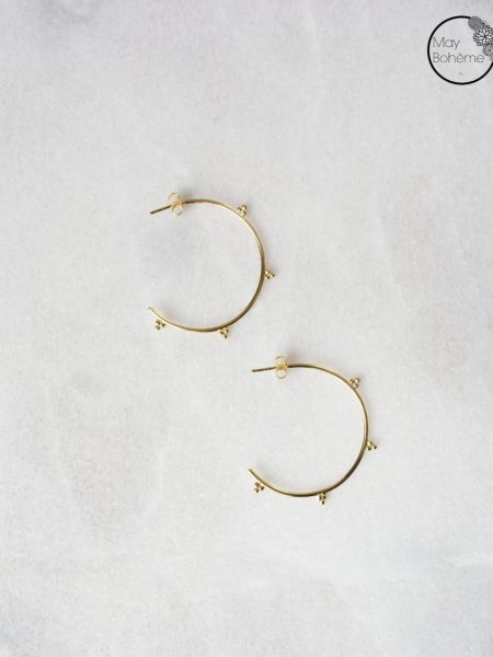 """Boucles d'oreilles Mumtaz """"INDIAN MOOD"""" - Créoles indiennes perlées argent doré"""
