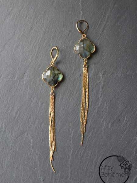 "Boucles d'oreilles Mumbai ""INDIAN MOOD"" - Pendants d'oreilles pierre fine"