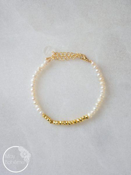 "BRACELET GOLD SERENITY ""GYSPET SPIRIT""- Bracelet perles d'eau douce, pyrite"