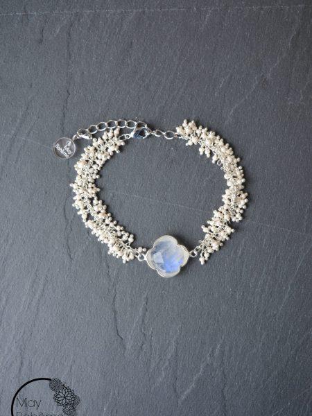 "Bracelet Sweet Pondichéry ""INDIAN MOOD"" - Bracelet perles trèfle pierre de lune"