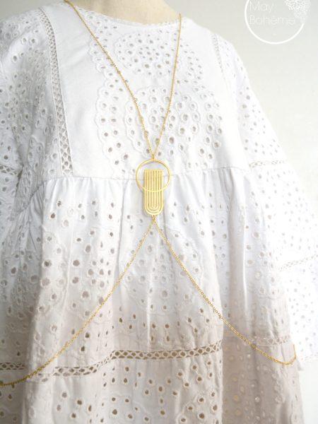 """Sautoir  Gorgeous  """"Art Bucolique"""" - Sautoir de corps plaqué pendentif Art Déco"""