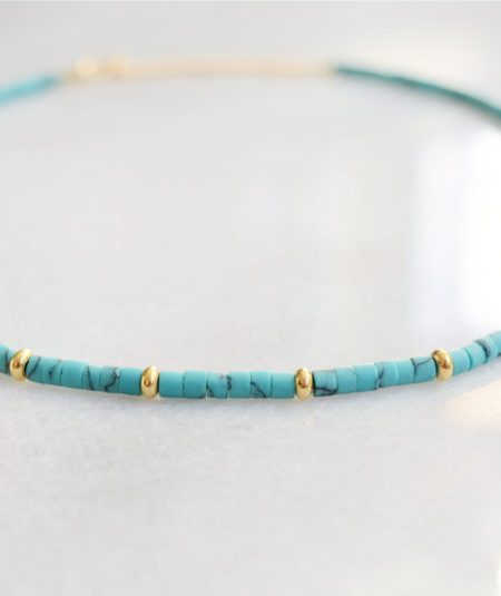 "Collier Sunny ""INDIAN MOOD"" - collier surfeur Heishi turquoise plaqué or"