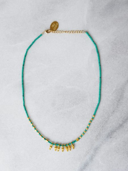 "Collier Little Jaipur ""INDIAN MOOD"" - Collier Heishi turquoise Afghane toupies indie"