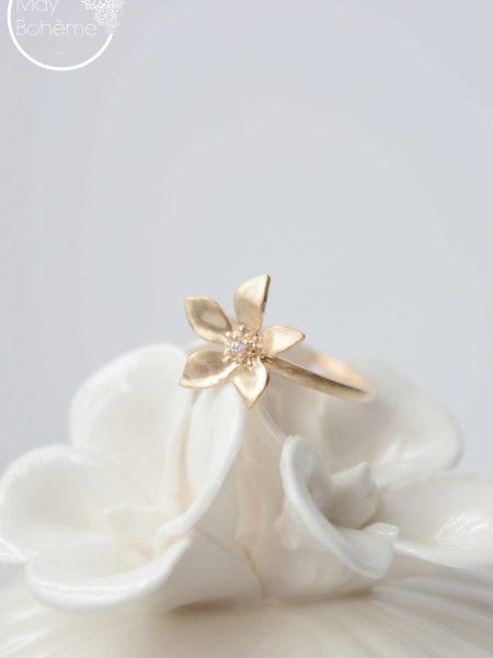 """Bague Little Flower """"Art Bucolique"""" - bague fleur plaqué or"""