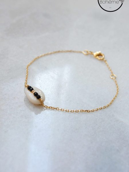 "BRACELET KUTA BEACH "" BOHEMIAN MOOD"" - Bracelet coquillage Cauri petites perles plaqué or"