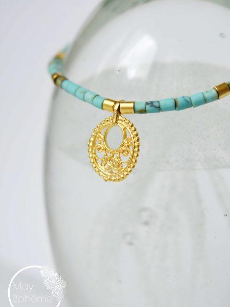 """Bracelet Kashmir """"INDIAN MOOD"""" - Bracelet Heishi turquoise Afghane perles plaqué or"""