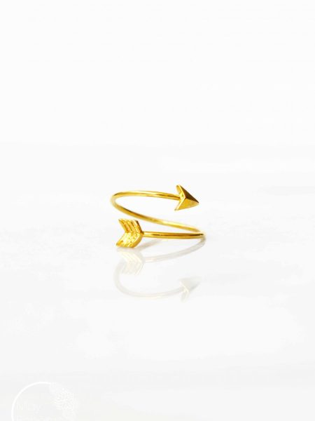 "Bague Arrow ""First Summer"" - bague flèche ajustable plaqué or"