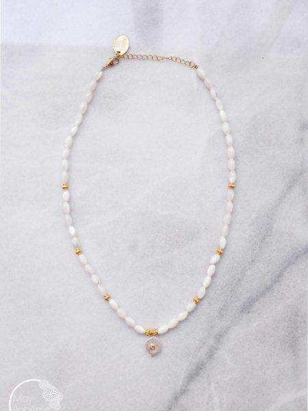 """Collier Blanche Athènes  """"Bohemian mood"""" - Collier perles nacre médaille perle zirconium"""