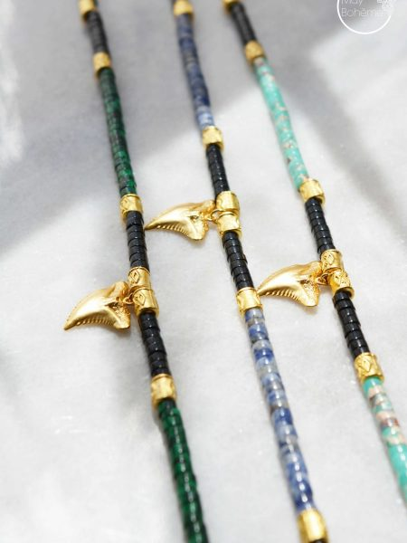 "Collier Sun Love ""Bohemian mood"" - Collier Heishi pierre fine dent de requin"