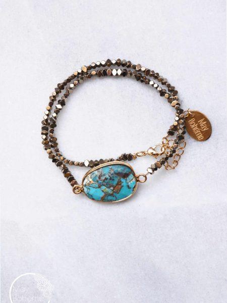 """Bracelet Bleu Gold  """"BOHEMIAN MOOD"""" - Bracelet double turquoise et  hématites cuivrées"""