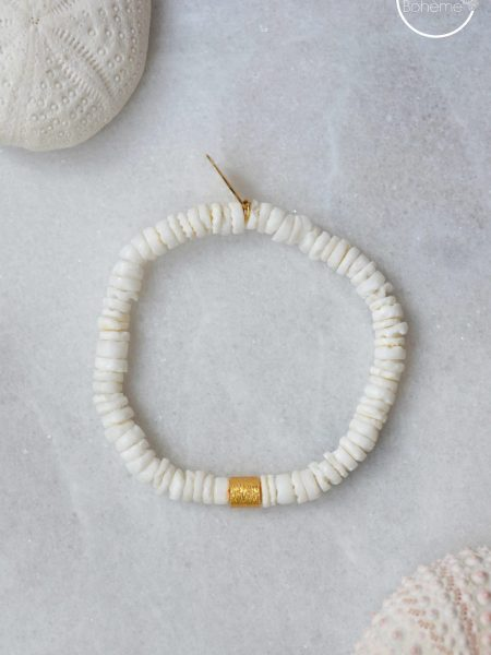 Bracelet Sunny Natural - Perles Heishi blanche coquillage, cylindre plaqué or