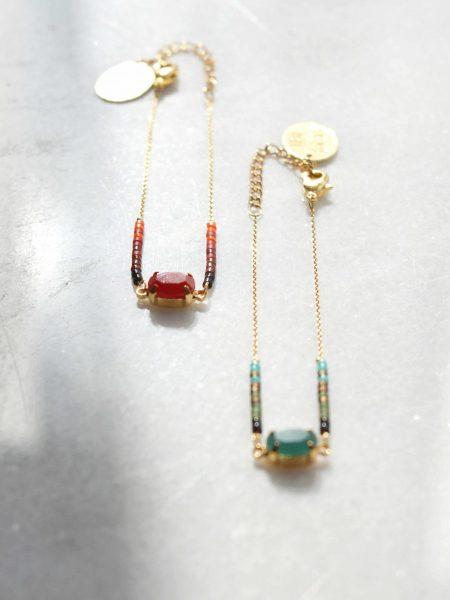 """Bracelet Gloria """"Bohémienne Chic"""" - Bracelet fin perles japonaise cabochon facetté"""