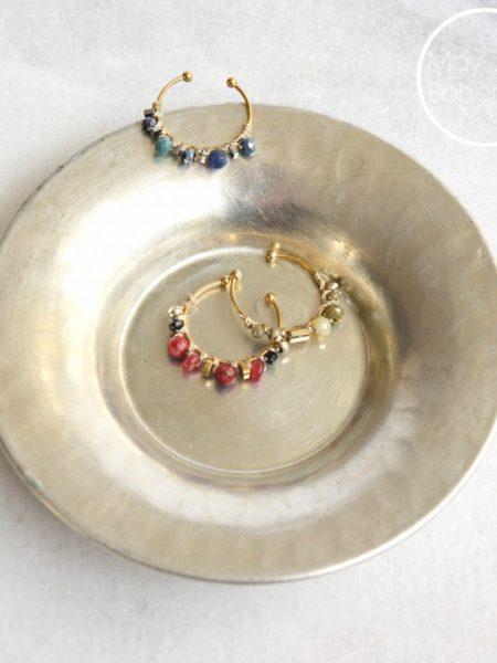 """Bague Solé """"BOHEMIAN MOOD"""" - Bague ouverte tissée perles et pierres acier inoxydable"""