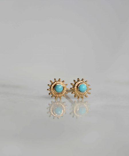 """Boucles d'oreilles Mona """"Bohemian Mood"""" - puces d'oreilles soleil serties turquoise"""