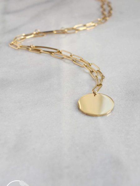 """Sautoir EVA """"BOHEMIAN MOOD"""" - Sautoir Chaîne mailles rectangulaire Médaille acier inoxydable doré"""