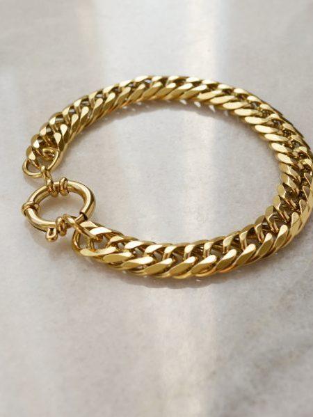"""Bracelet Solange """"BOHEMIAN MOOD"""" -  Chaîne gourmette acier inoxydable doré fermoir"""