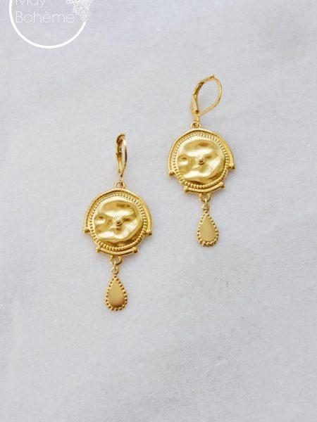 """Boucles d'oreilles Ethiopie """"ROOTS"""" - boucles d'oreilles pendants ethniques doré or fin"""