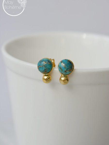 """Boucles d'oreilles Samary """"ROOTS"""" - boucles d'oreilles Turquoises moirées petites billes doré or Fin"""