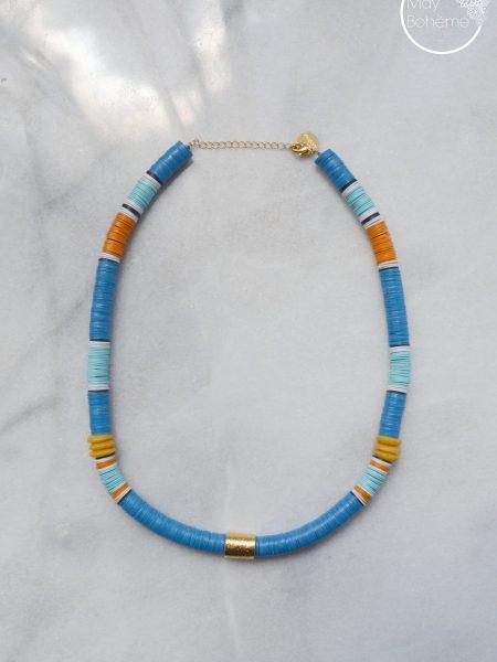 """Collier Little Ghana """"ROOTS"""" - Collier heishi vinyle recyclé et perles doré à l'or fin cylindrique"""