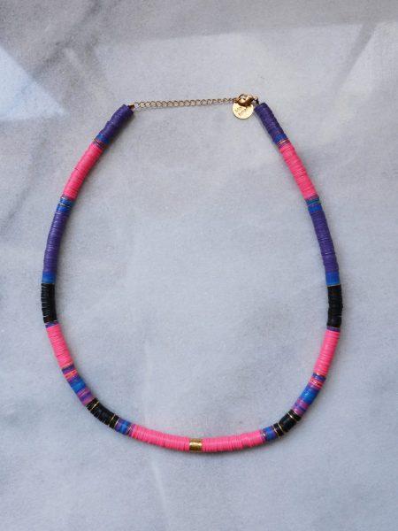 "Collier Sweety Ghana ""ROOTS"" - Collier heishi vinyle recyclé et perles doré à l'or fin cylindrique"