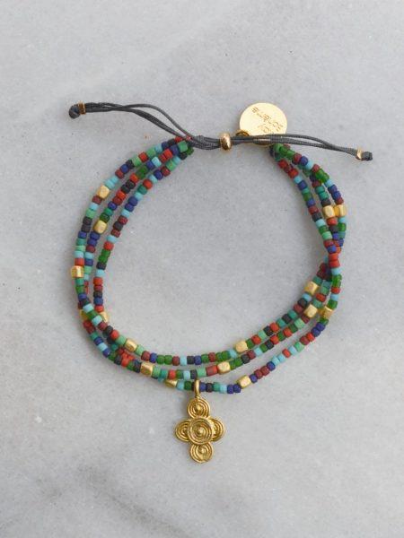"""Bracelet Little MALI """"ROOTS"""" - Triple bracelet perles verres africaines médaille ethnique"""