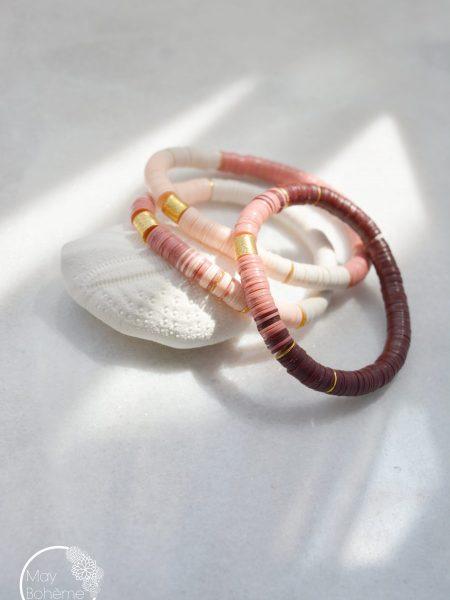"""Bracelet Sweety Ghana """"ROOTS"""" - Bracelet heishi vinyle recyclé et perles doré à l'or fin cylindrique"""