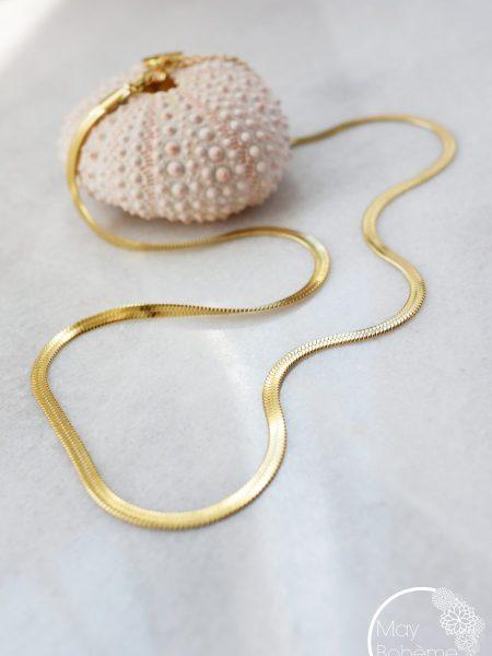 "Collier Gladys ""BOHEMIAN MOOD"" - Chaine serpent dorée acier inoxydable"