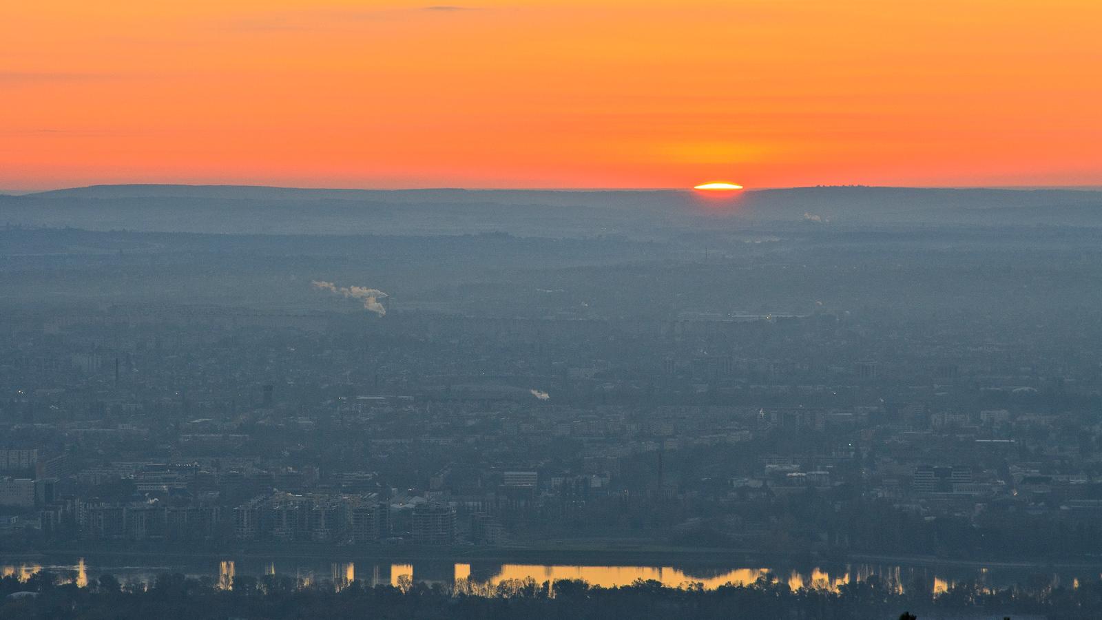 Sunrise over Budapest from Hármashatár-hill.