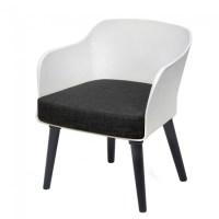 Poppy Tub Chair White Tub with Black Legs
